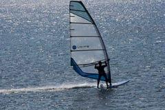 爱琴海海洋风帆冲浪者 图库摄影