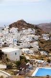 爱琴海chora cyclades ios横向视图 免版税图库摄影