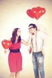 爱的妇女作作为男朋友一个浪漫天使的 免版税库存照片