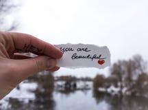 爱的标志在女孩的手上河的背景的 免版税库存照片