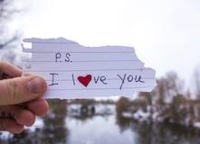 爱的标志在女孩的手上河的背景的 库存照片