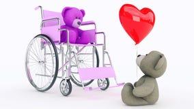 爱的概念 在轮椅的两个玩具熊有红色心脏的 皇族释放例证