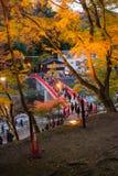 爱知, - 11月23日:人人群红色桥梁的有五颜六色的Aut的 库存图片