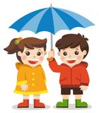 爱秋天 愉快的男孩和女孩有伞的 皇族释放例证