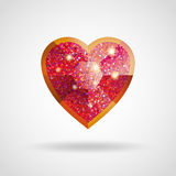 爱红色和金心脏闪烁红宝石 图库摄影