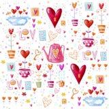 爱背景由红色心脏,花做成 无缝的样式可以为墙纸,样式积土,网页背景, postca使用 免版税库存照片