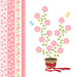 爱花和逗人喜爱的丝带 库存图片