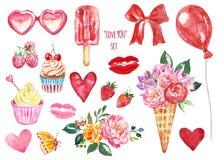 爱设置了情人节标志 水彩红心、桃红色亲吻、花、冰淇淋、甜点和款待卡片设计的 皇族释放例证