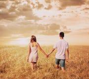 爱走在日落领域的夫妇握手 免版税库存图片
