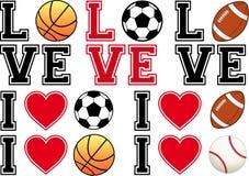 爱足球,橄榄球,篮球,棒球, vecto 免版税库存照片