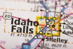 爱达荷在地图落 库存图片