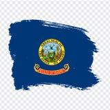 爱达荷的旗子从刷子冲程的 ?? 在透明背景您的网站设计的,商标的旗子爱达荷, 向量例证