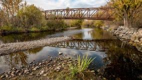 爱达荷脚桥梁的博伊西河 免版税库存照片
