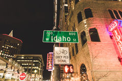爱达荷街在晚上 库存图片