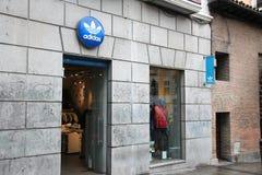 爱迪达商店在马德里 免版税库存图片