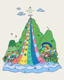 爱里约巴西地标五颜六色的乱画手拉的传染媒介例证 库存照片