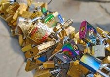 爱锁在佛罗伦萨,意大利 库存照片