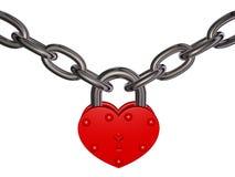 爱锁-红色心脏锁和链子 免版税库存照片