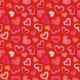 爱题材心脏华伦泰` s天无缝的样式背景 免版税图库摄影