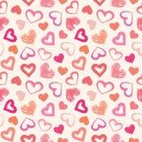 爱题材心脏华伦泰` s天无缝的样式背景 免版税库存图片