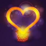 爱从当前箱子的心脏飞行在bokeh背景 免版税库存图片