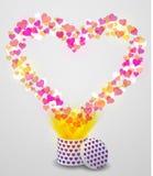 爱从当前箱子的心脏飞行在bokeh背景 免版税库存照片