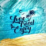 爱 旅行 享用 书法冲程闪烁海报 免版税库存图片