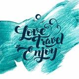 爱 旅行 享用 书法冲程闪烁海报 免版税图库摄影