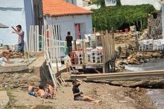 爱琴海区域-博兹贾岛海岛,艺术,在商店,房子 免版税库存照片
