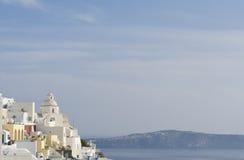 爱琴海小船fira老santorini海运视图火山 库存照片