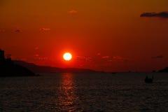 爱琴海日落 库存照片
