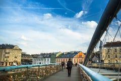 爱Kladka Bernatka桥梁充满爱的挂锁 人行桥Ojca Bernatka -在维斯瓦河的桥梁 免版税图库摄影