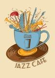 爵士乐与乐器的咖啡馆概念在杯子 图库摄影