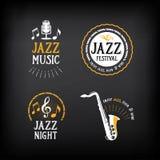 爵士乐党商标和徽章设计 与图表的传染媒介 免版税图库摄影