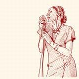 爵士乐歌唱家的草图 免版税库存照片