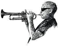 爵士乐球员喇叭 免版税库存照片