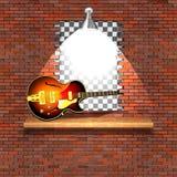爵士乐电吉他失败砖墙 图库摄影