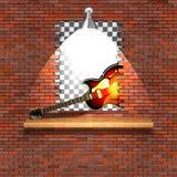 爵士乐电吉他失败砖墙 库存照片