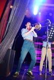 爵士乐的年轻天才在俱乐部奥林匹亚的 免版税库存照片