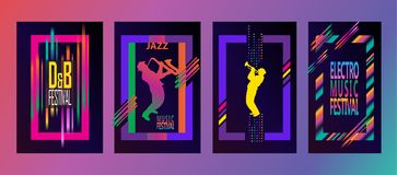 爵士乐节日旅行标志 库存照片