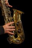 爵士乐萨克管演奏员 免版税库存照片