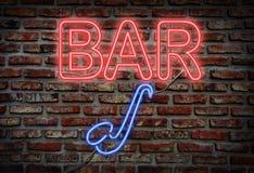 爵士乐酒吧霓虹灯广告 库存图片
