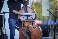爵士乐音乐家演奏低音提琴1 免版税图库摄影