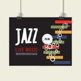 爵士节海报模板 爵士乐 萨克斯管 国际爵士乐天 容易的设计编辑要素导航 免版税图库摄影