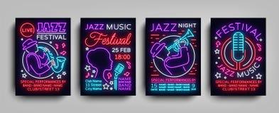 爵士节海报氖汇集 霓虹灯广告,霓虹样式小册子,设计爵士乐的邀请模板 皇族释放例证