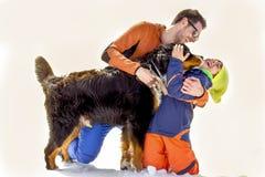 父亲、儿子和他们的狗获得乐趣在雪 免版税库存照片
