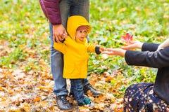 父亲、母亲和儿子走 采取第一步在父亲帮助下的婴孩在秋天庭院里在城市 免版税库存照片