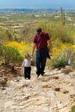 父亲儿子远足沙漠山 库存图片