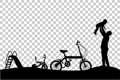 父亲剪影获得与他的孩子、幻灯片、三轮车和折叠的自行车的乐趣在公园在透明作用背景 皇族释放例证
