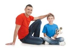 父亲和儿子。 免版税库存图片